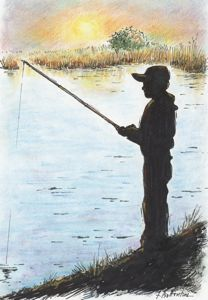 A quiet day fishing in Broad Creek's open tidal channel.  Illustration by Todd Ballantine