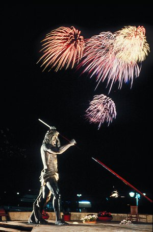 Fireworks display over the Statue of Neptune