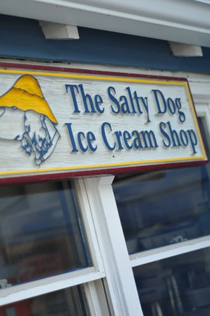 Sign outside of The Salty Dog Ice Cream Shop