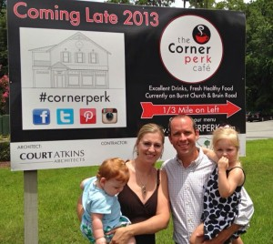John and Kali Cooke with their daughters, Ellie and Abbagail. The Corner Perk will be moved just down the street to a new building near year's end - still in Old Town, right in the middle of all the  Bluffton action!