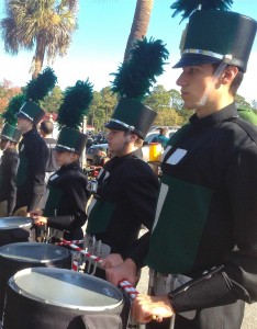 The Bluffton Bulldog Marching Band puts everyone in a festive mood.
