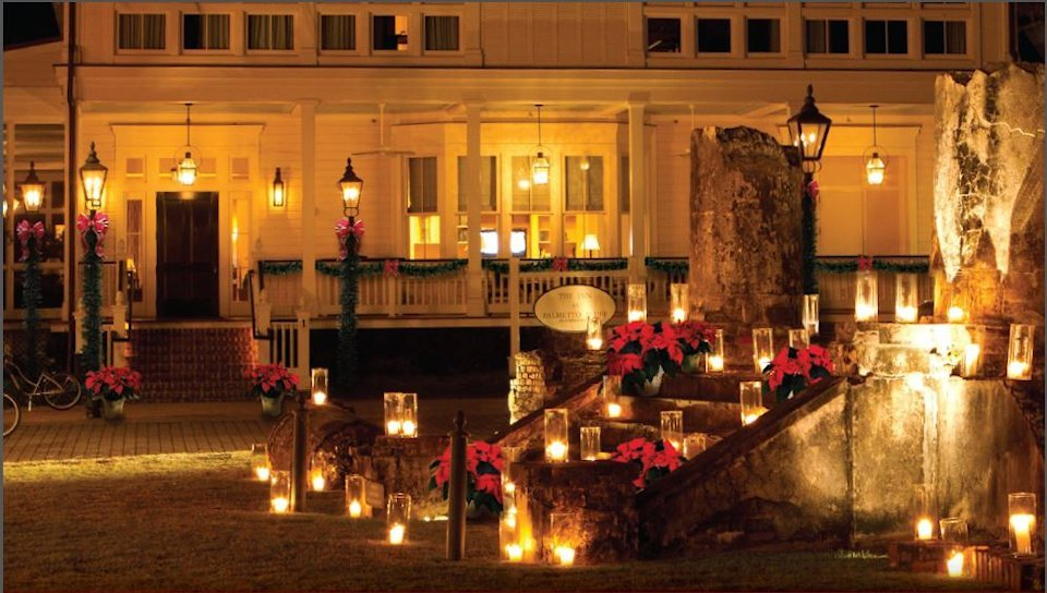"""Palmetto Bluff glimmers in a holiday glow for the annual """"Christmas Movie on the Green""""."""