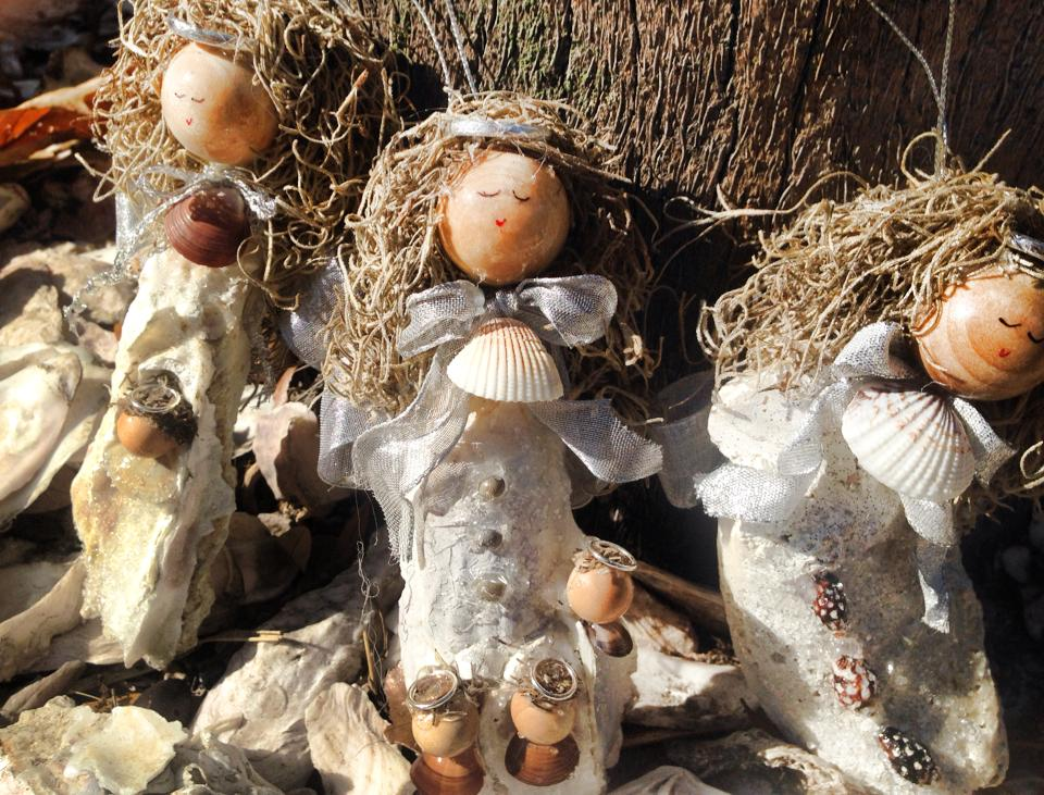 Ornaments made with local oysters and spanish moss