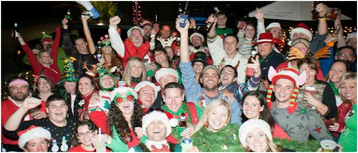 ugly sweater bar crawl crowd