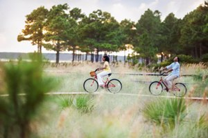 Burn off dinner with a bike ride on the beach