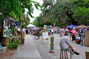 Many of the streets in Old Town Bluffton are closed auto traffic, so it's a wonderful time to stroll the booths, relax and take in the atmosphere at this laid back festival.